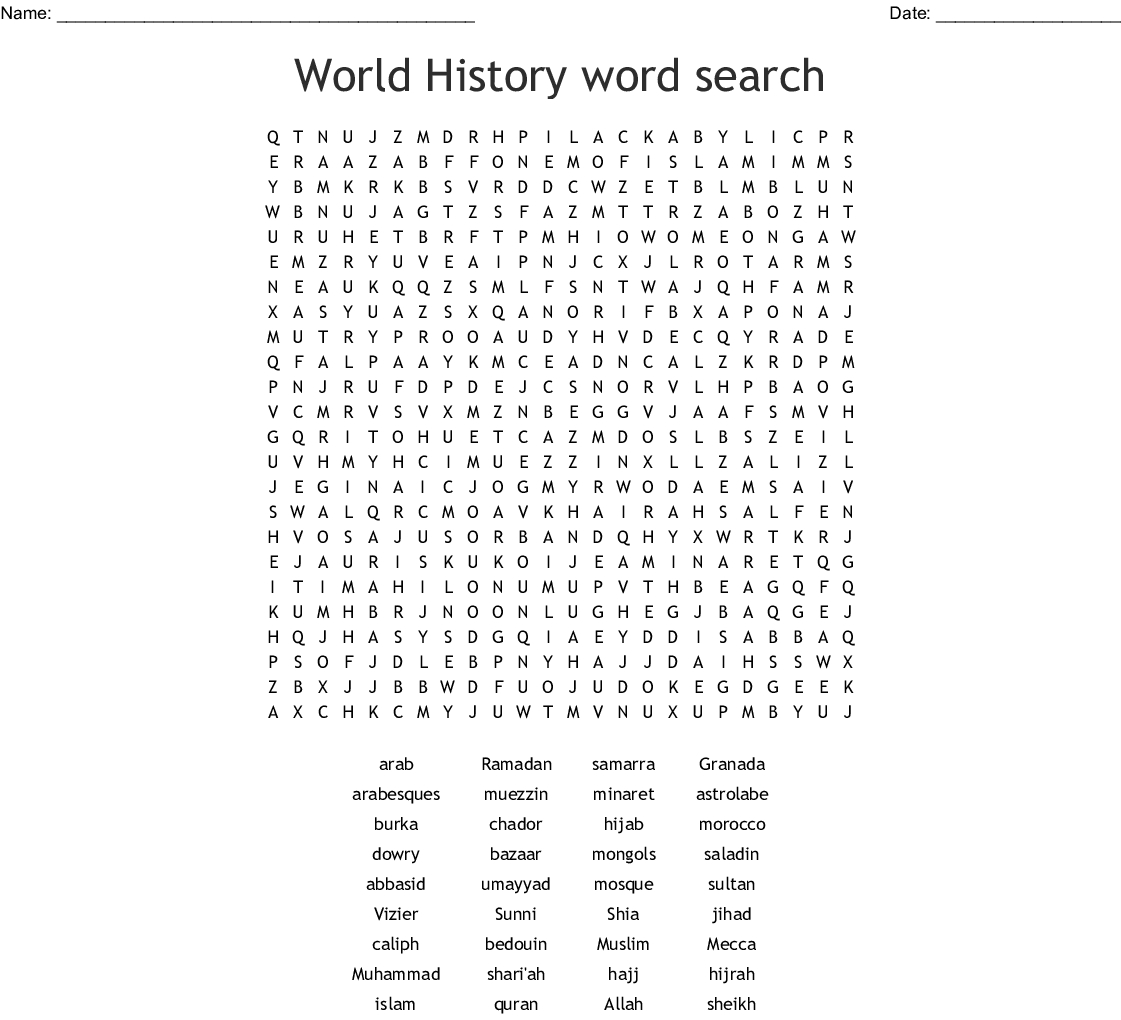World History Word Search - Wordmint