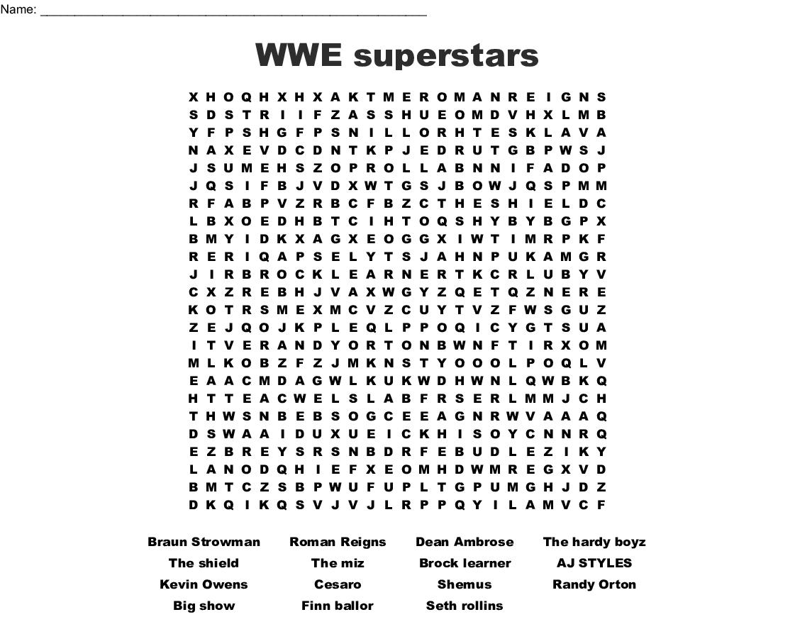 Wwe Superstars Word Search - Wordmint