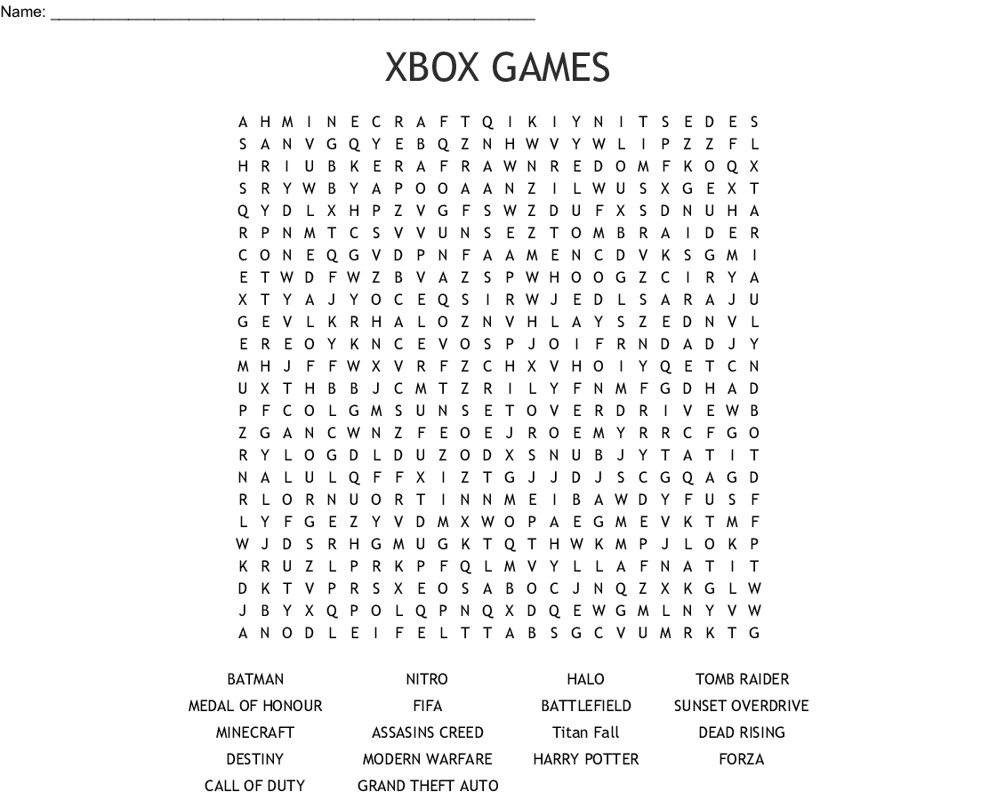 Xbox Games Word Search - Wordmint