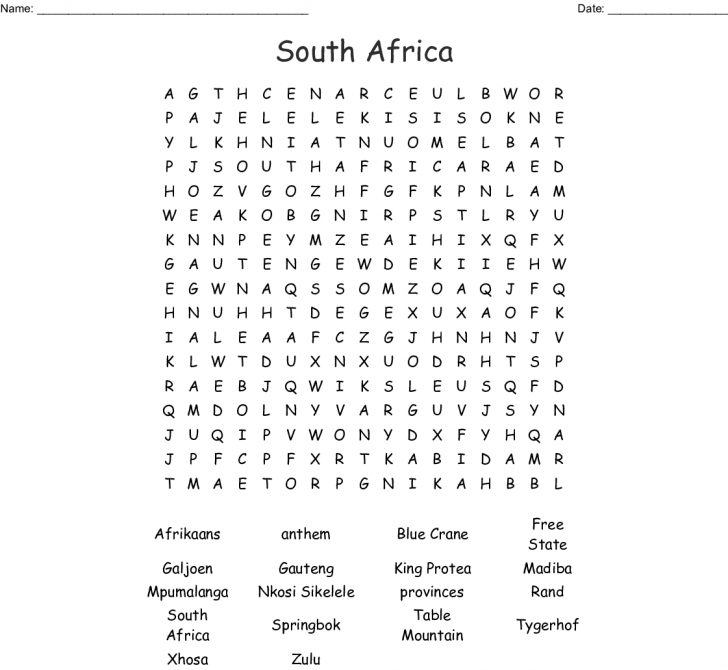 Afrikaans Word Search Printable