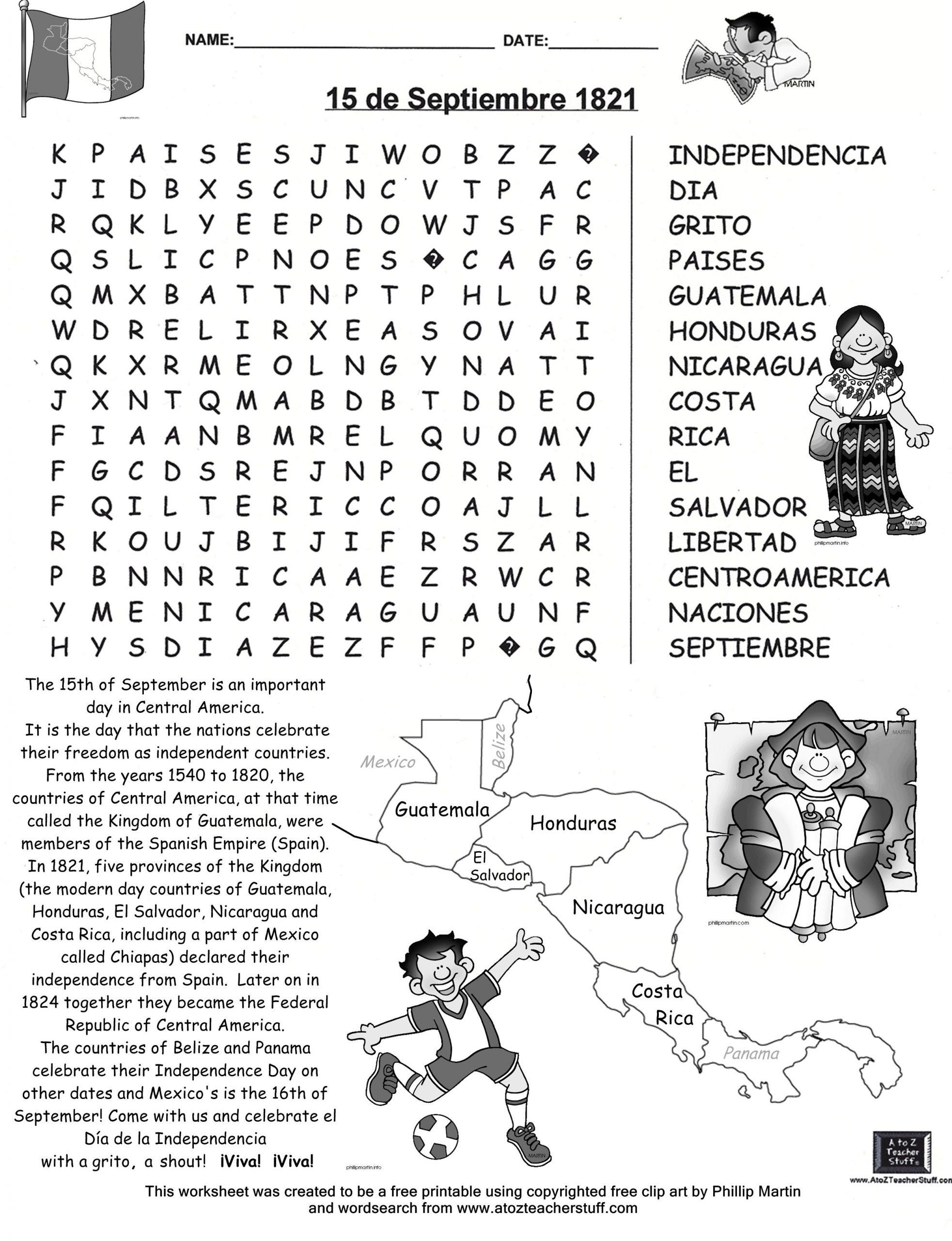 15 De Septiembre Búsqueda-Free Word Search | Independence
