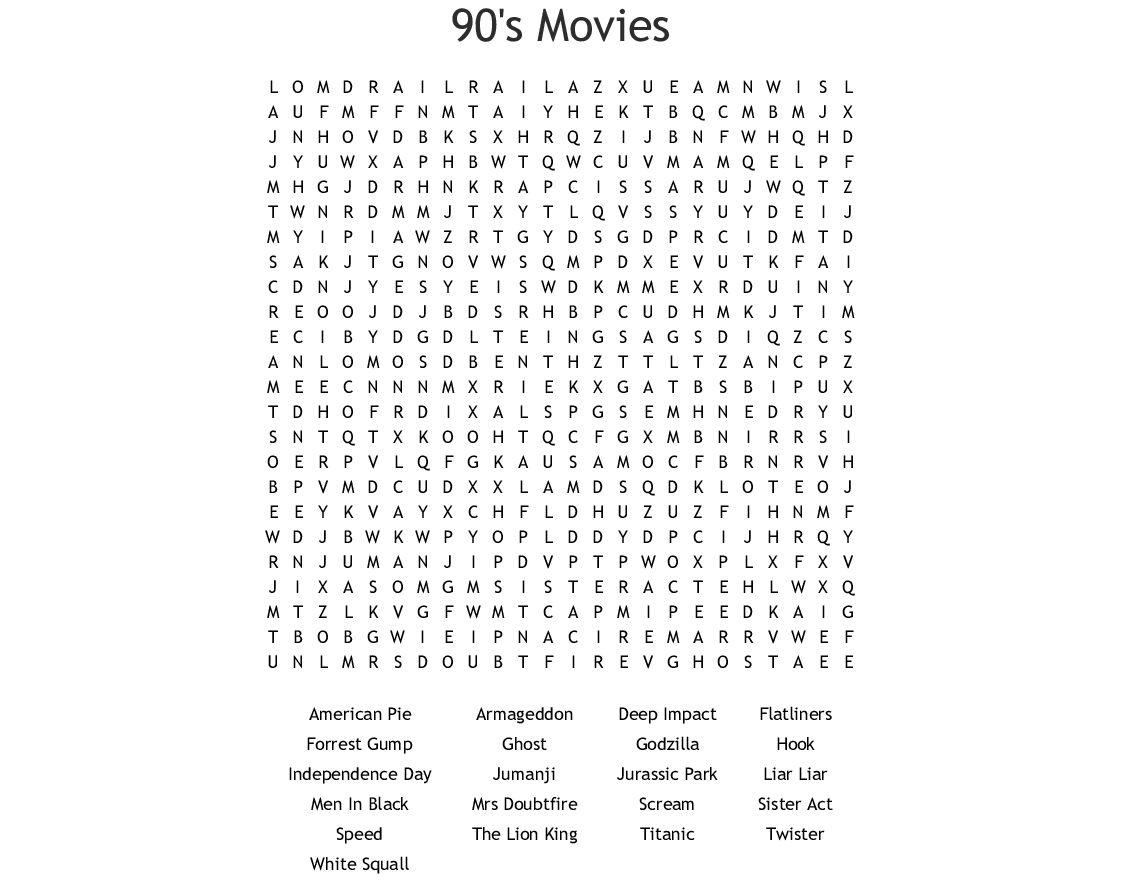 1990's Word Search - Wordmint