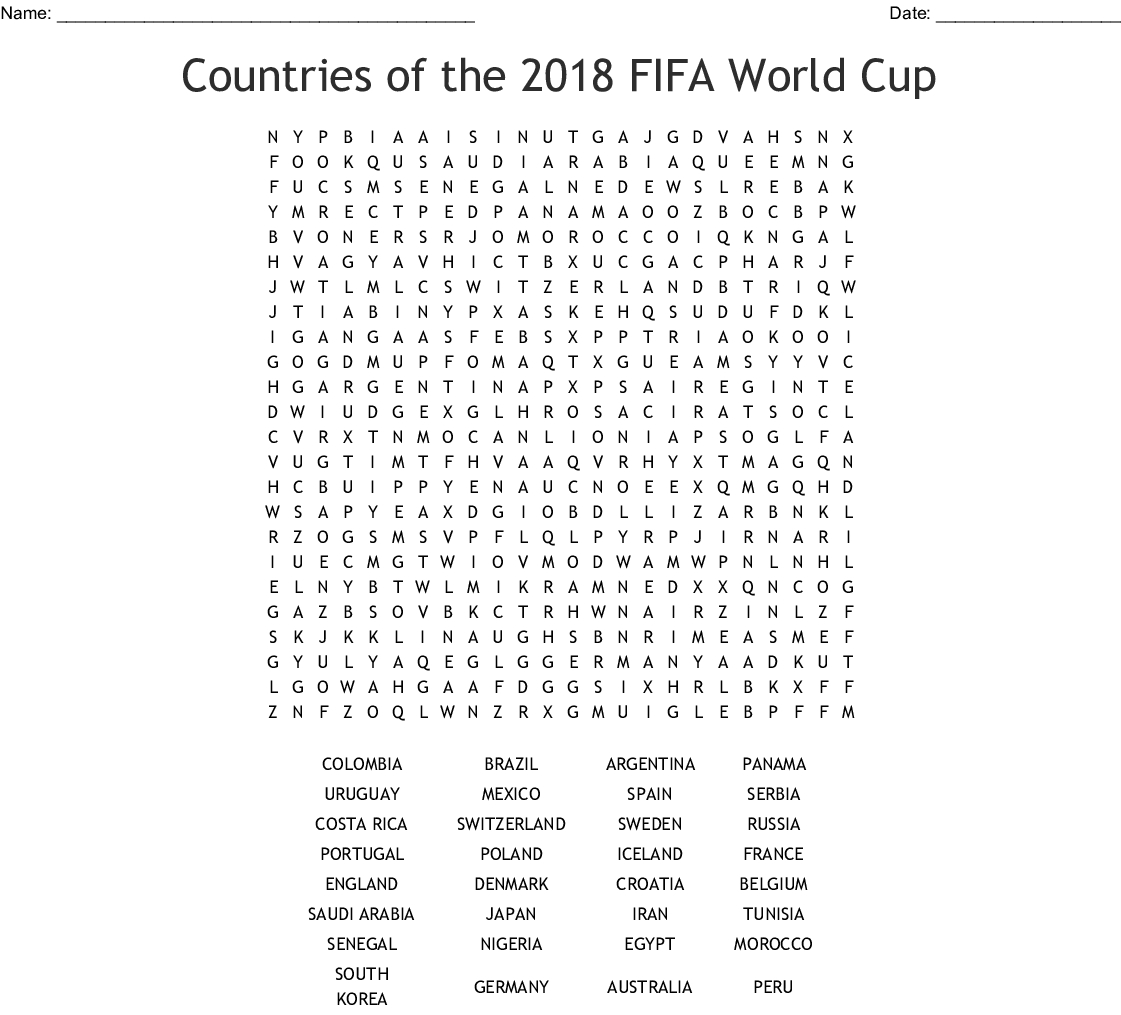 2018 World Cup Teams Word Search - Wordmint
