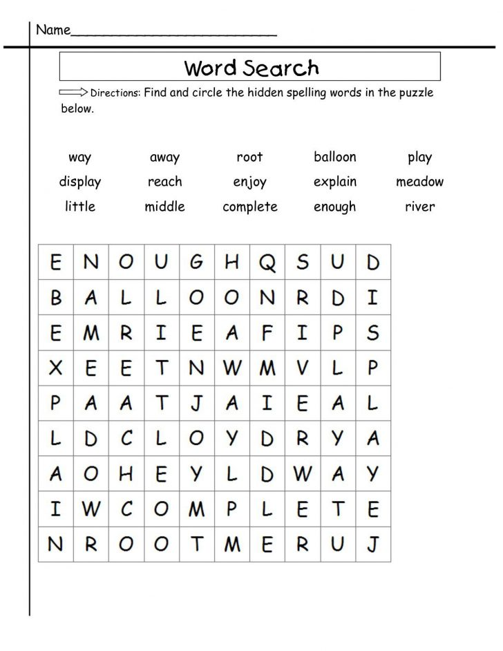 Word Search For 2nd Grade Free Printable