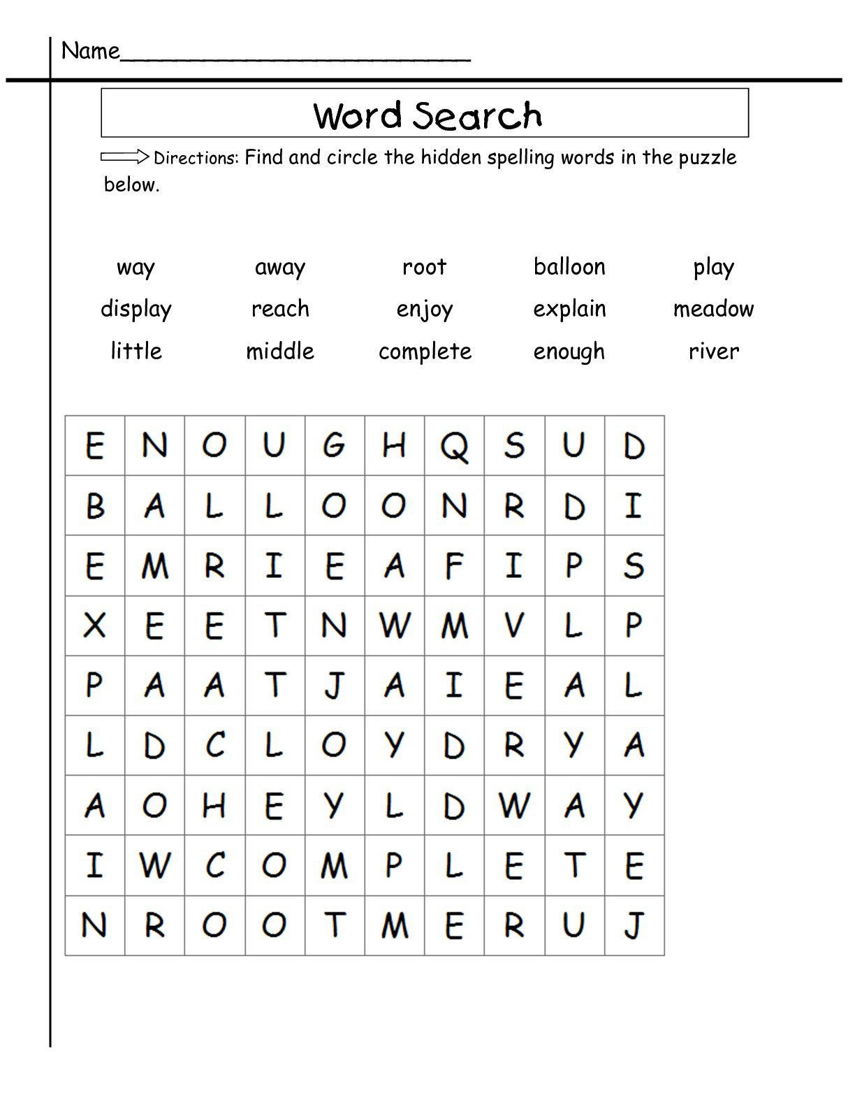 2Nd Grade Word Search | Sight Word Worksheets, 2Nd Grade