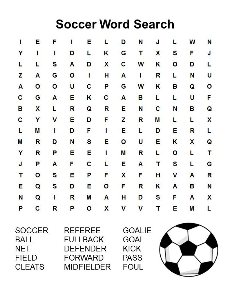 34 End-To-End Football Word Search Puzzles For You