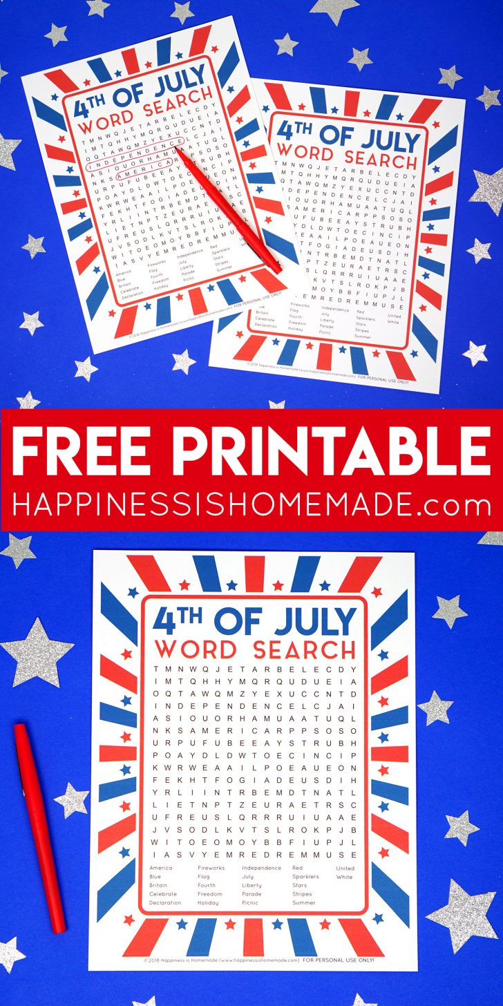 July 4th Word Search Printables
