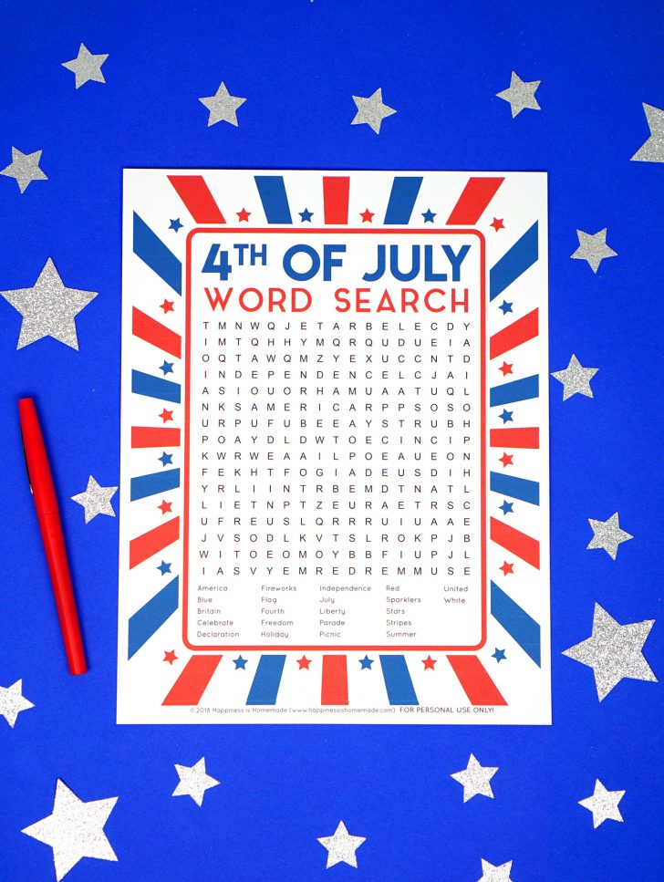 Fourth Of July Word Search Printable
