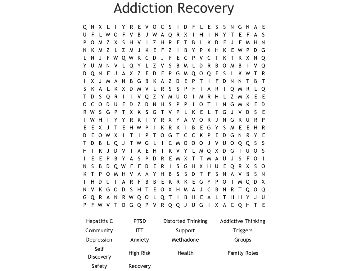 Addiction Recovery Word Search - Wordmint