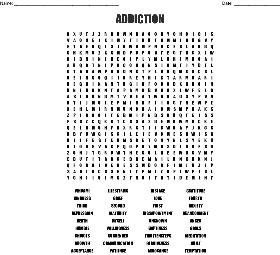 Addiction Word Search - Wordmint
