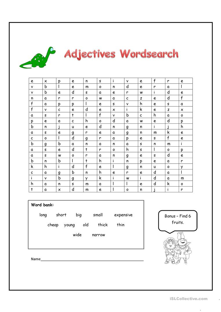 Adjectives Word Search - English Esl Worksheets For Distance