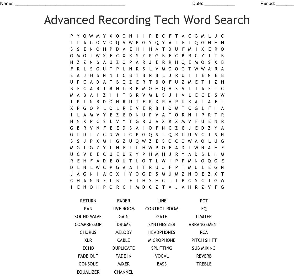 Advanced Recording Tech Word Search - Wordmint