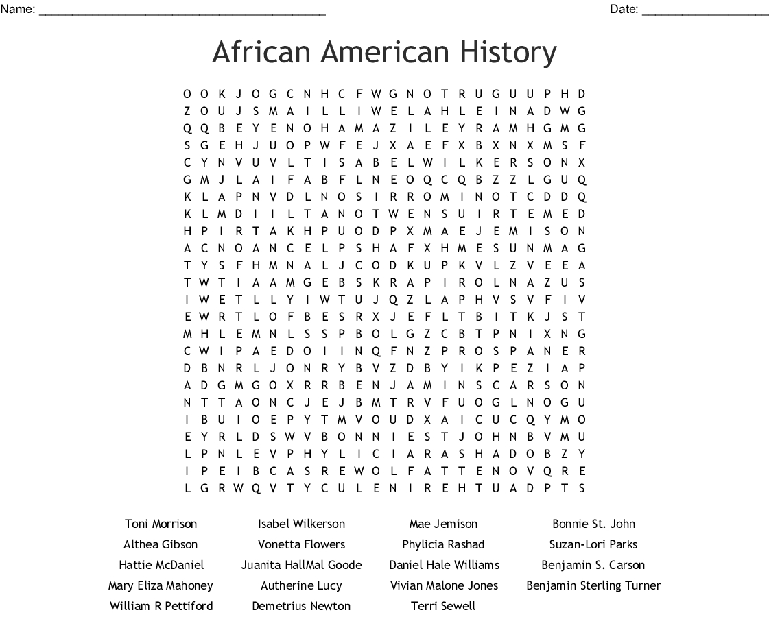 African American History Word Search - Wordmint