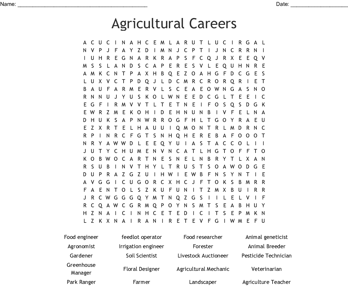 Agricultural Careers Word Search - Wordmint