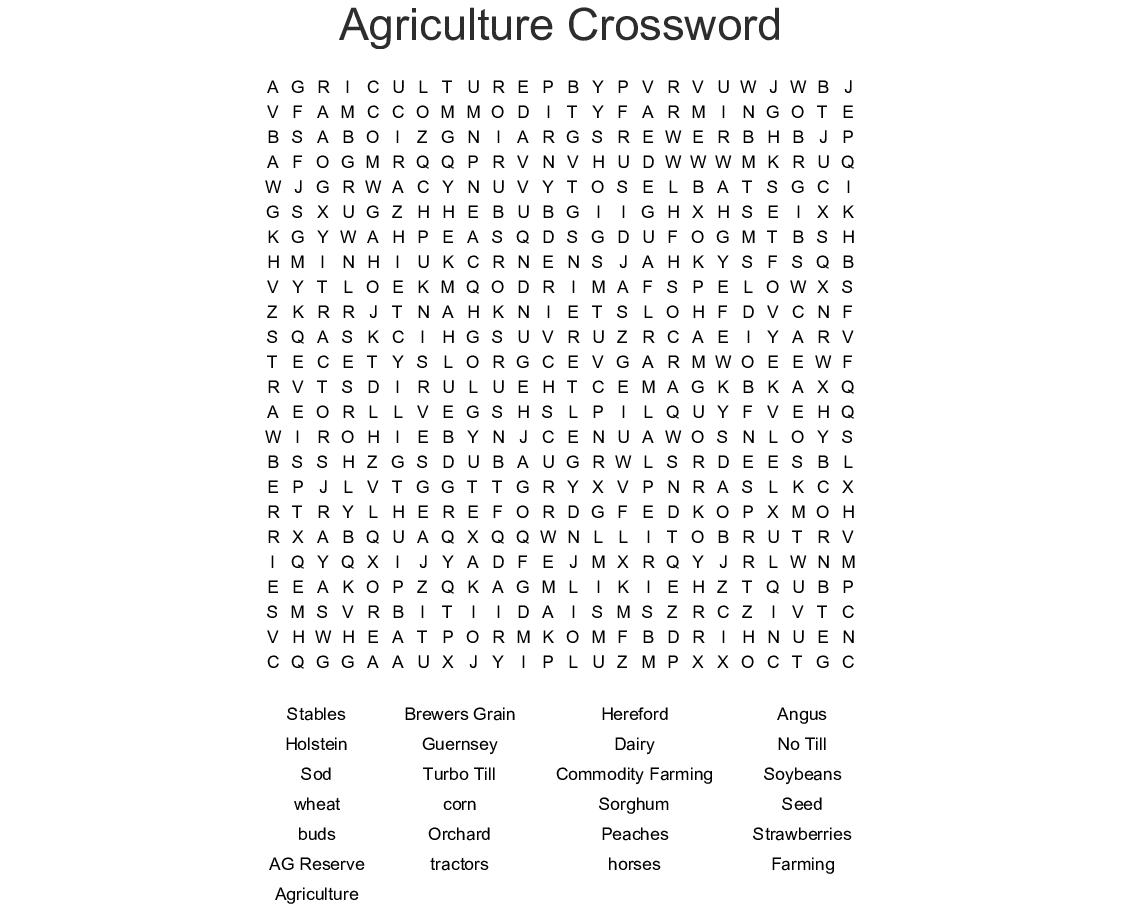 Agriculture Crossword Word Search - Wordmint