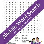 Aladdin Word Search Free Printable | Monorails And Magic