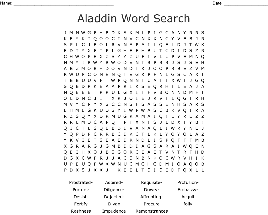 Aladdin Word Search - Wordmint