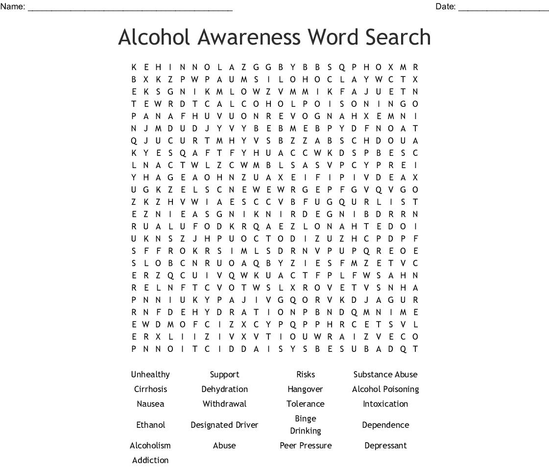 Alcohol Awareness Word Search - Wordmint
