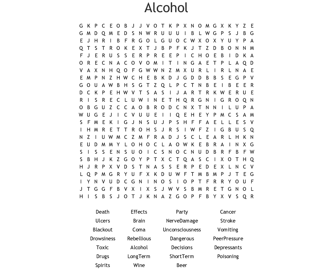 Alcohol Word Search - Wordmint
