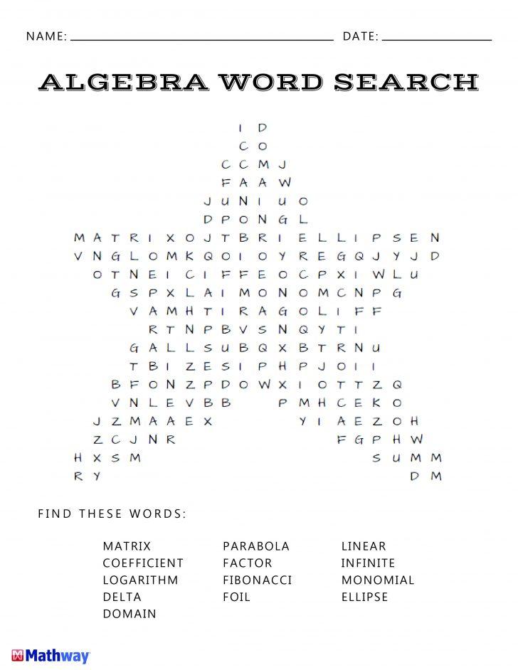 Algebra Word Search Printable