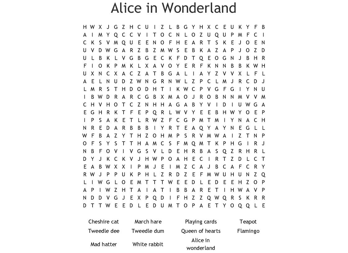 Alice In Wonderland Word Search - Wordmint
