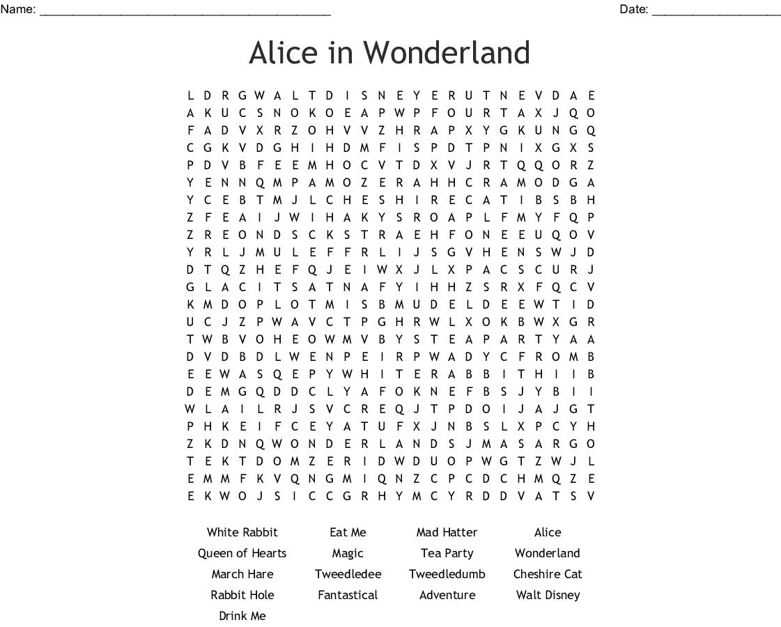 Alice In Wonderland Wordsearch - Wordmint