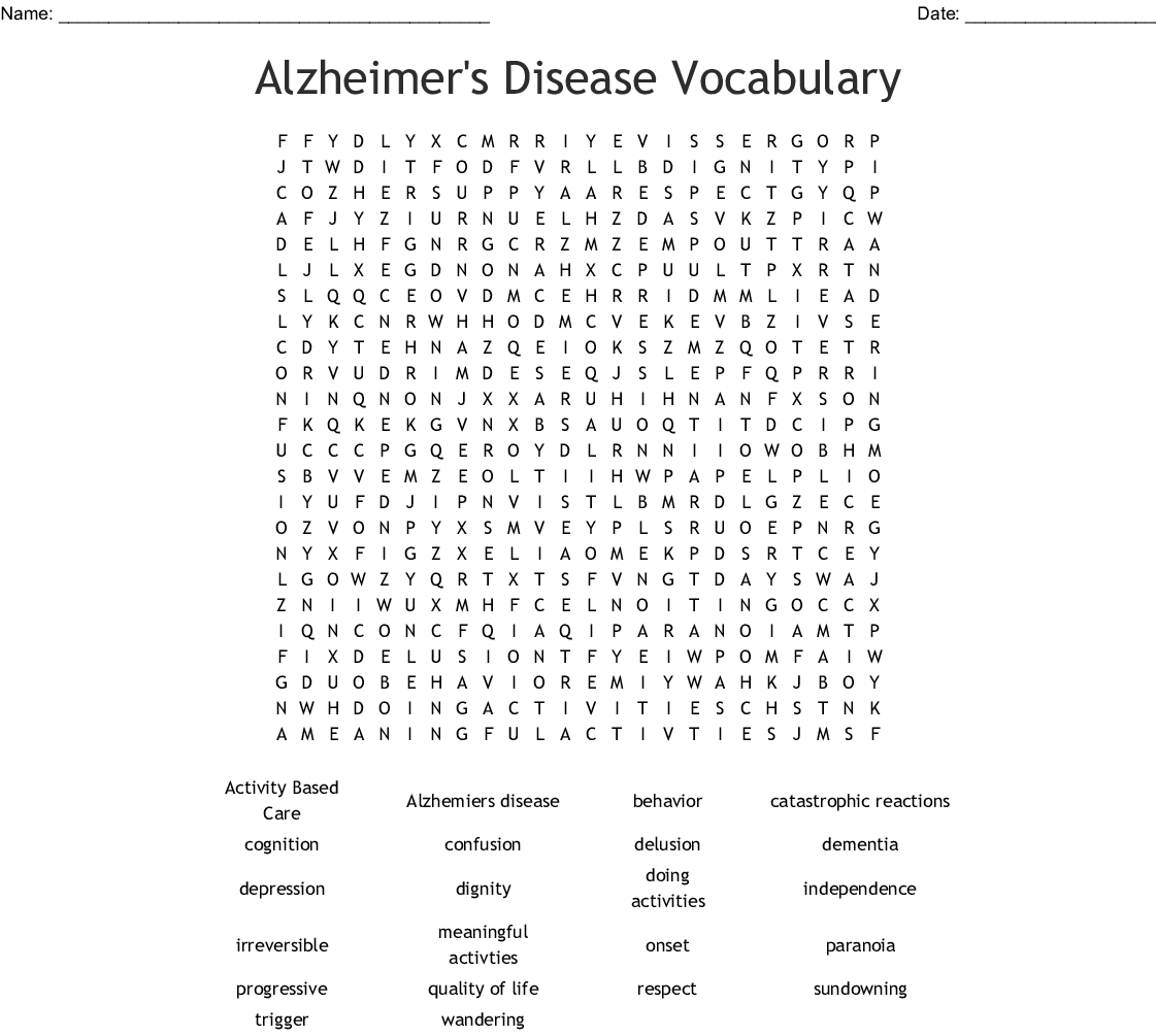 Alzheimer's Disease Vocabulary Word Search - Wordmint