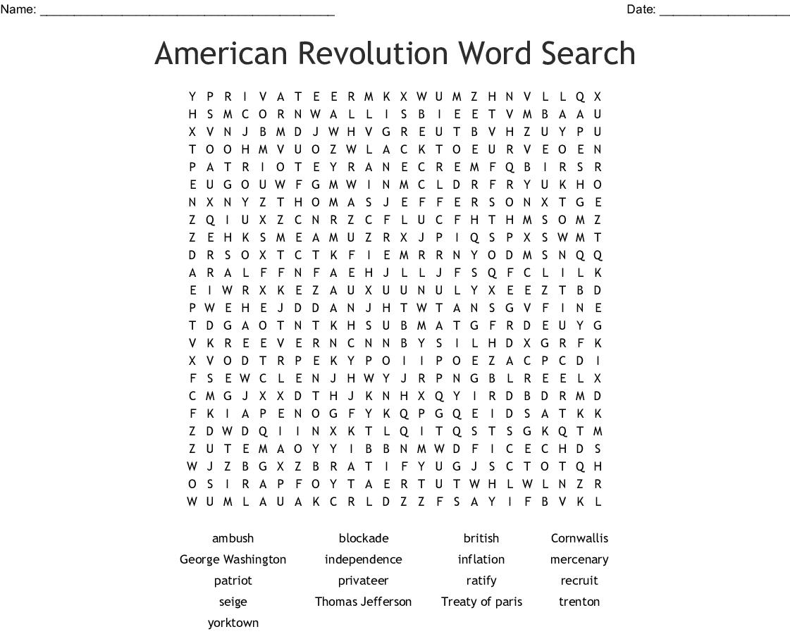 American Revolution Word Search - Wordmint