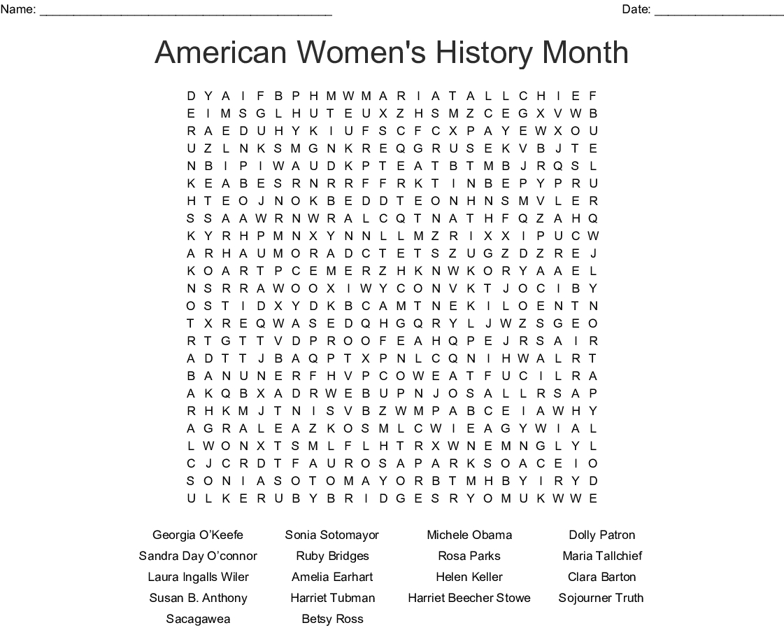 American Women's History Month Word Search - Wordmint