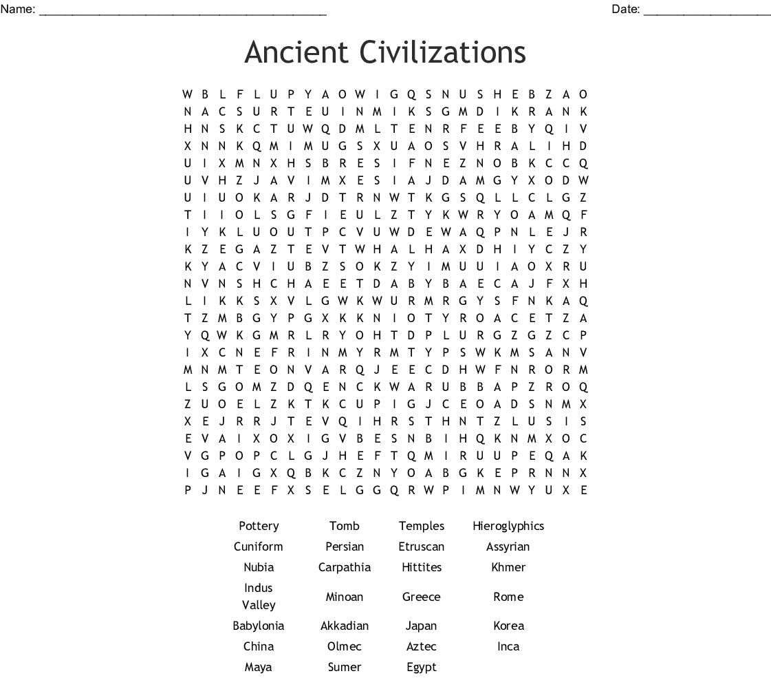 Ancient Civilizations Word Search - Wordmint