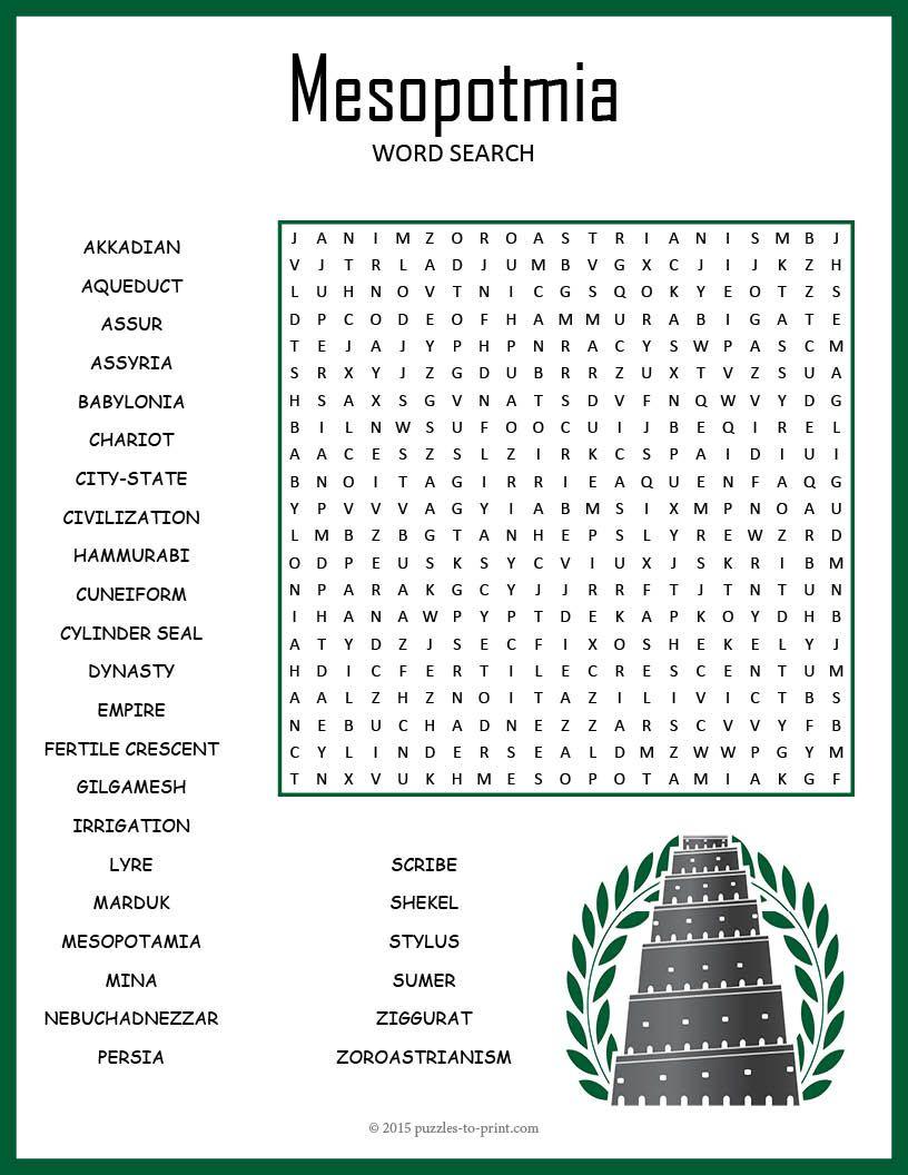 Ancient Mesopotamia Word Search | Ancient Mesopotamia