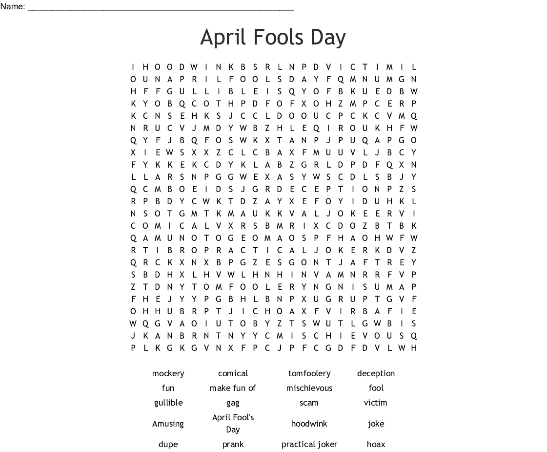 April Fools Day Word Search - Wordmint