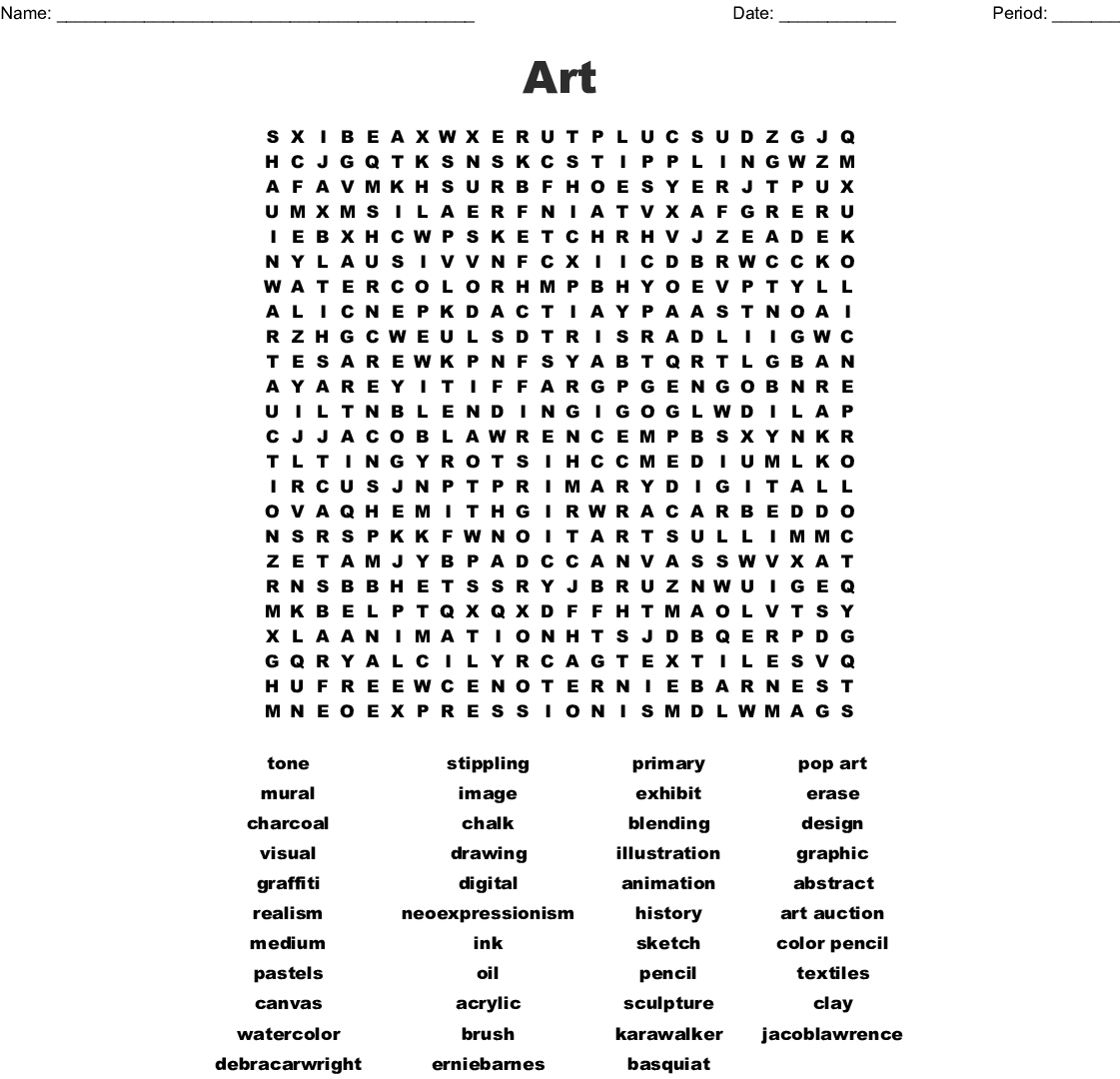 Art Supplies And Tools Word Search - Wordmint