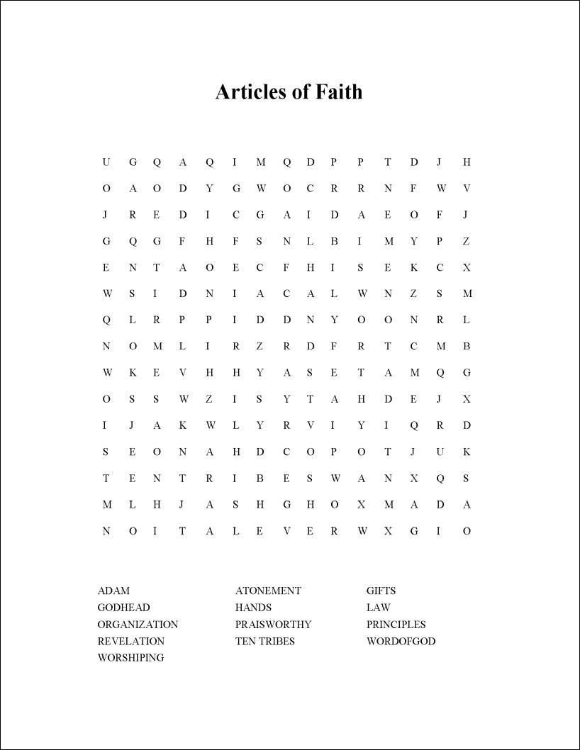 Article Of Faith Word Search | Articles Of Faith, Faith, 13