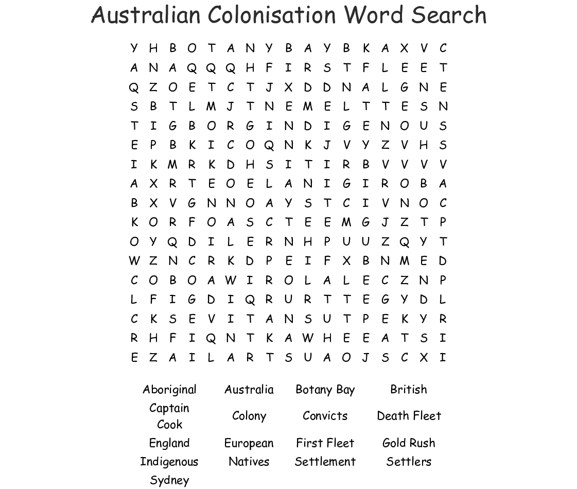 Australian Colonisation Word Search - Wordmint