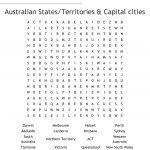 Australian States/territories & Capital Cities Word Search