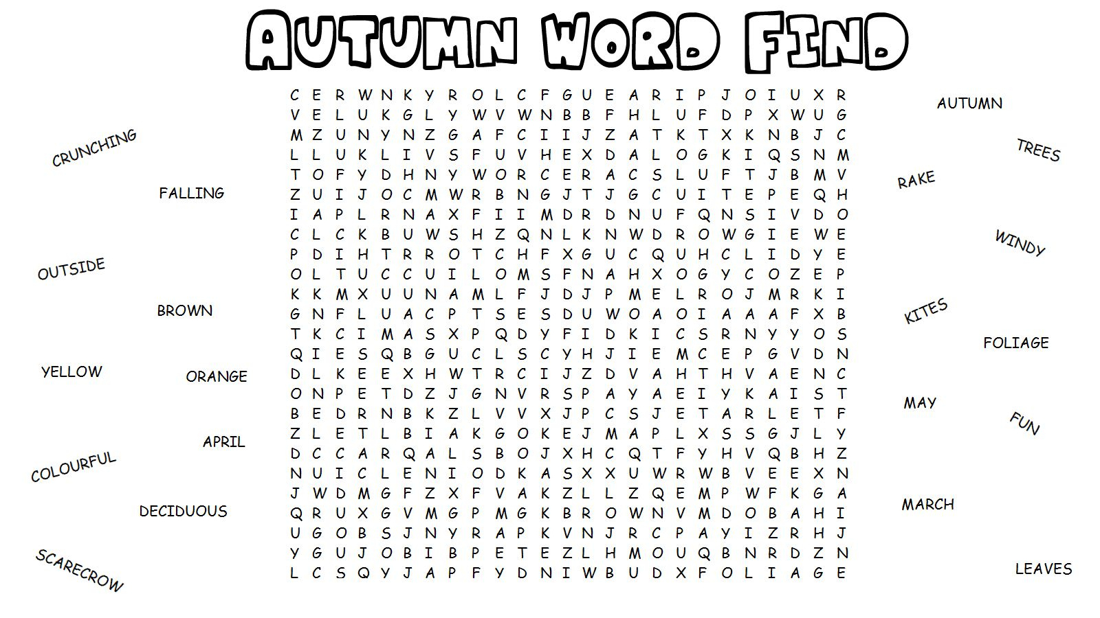 Autumn Word Search | Kids Word Search, Printable Games For