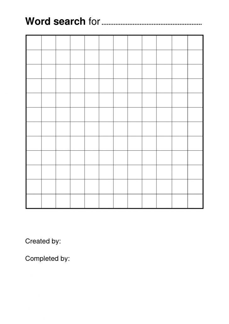 Word Search Template Free Printable