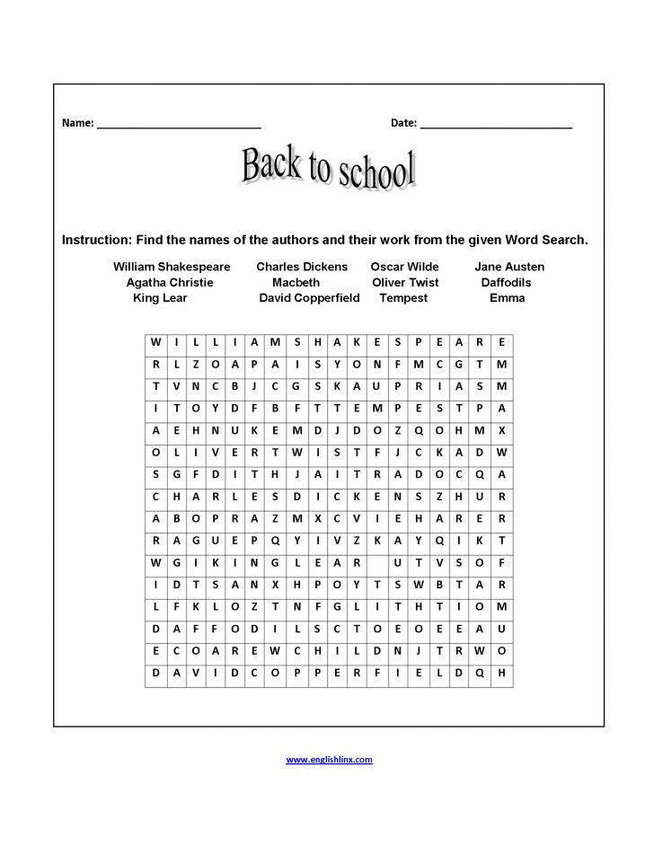 Word Search Back To School Printable