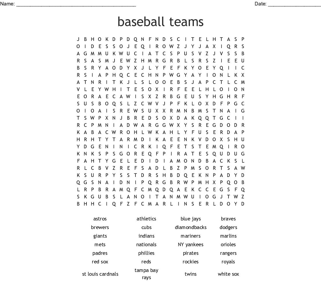Baseball Teams Word Search - Wordmint
