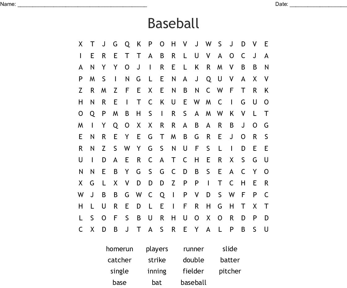 Baseball Word Search - Wordmint
