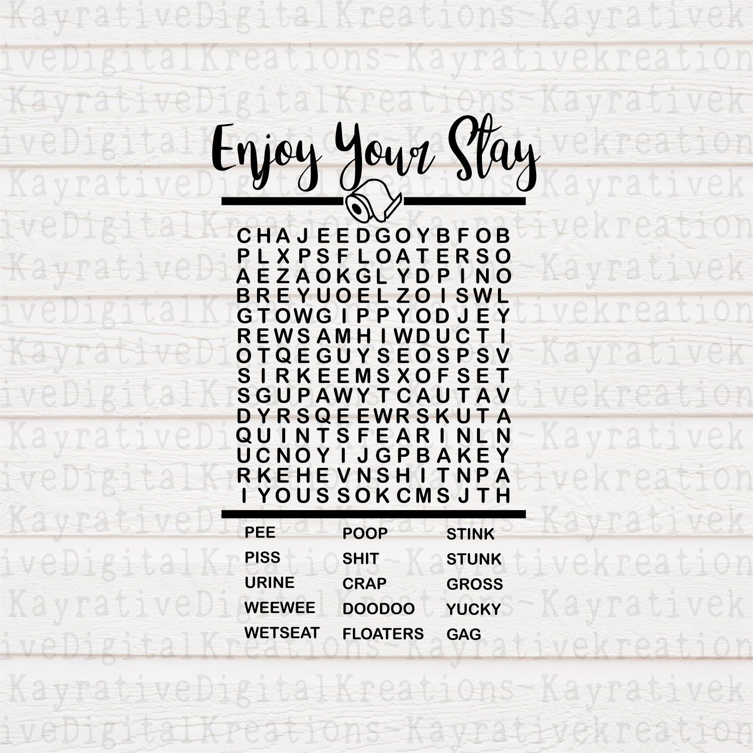 Bathroom Word Search Svg - Funny Bathroom Decor - Enjoy Your