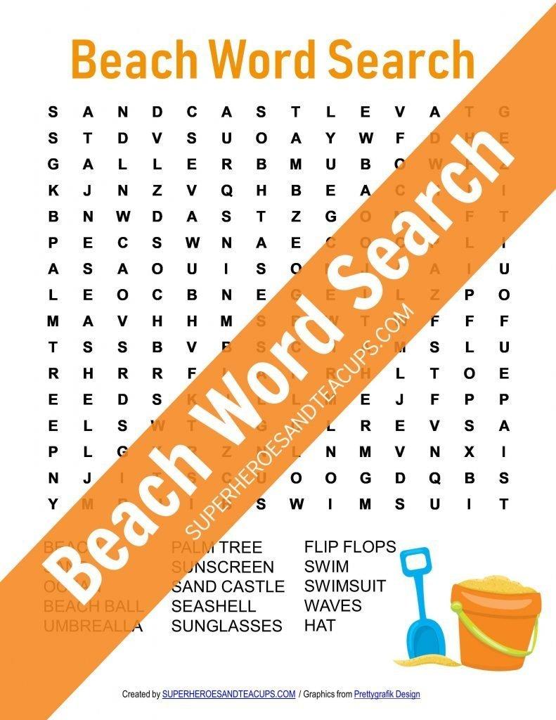 Beach Word Search Free Printable   Superheroes And Teacups