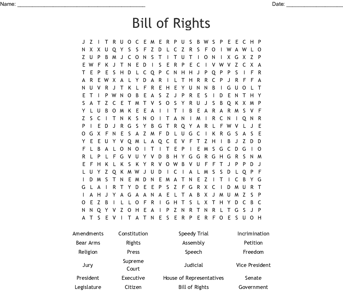 Bill Of Rights Word Search - Wordmint