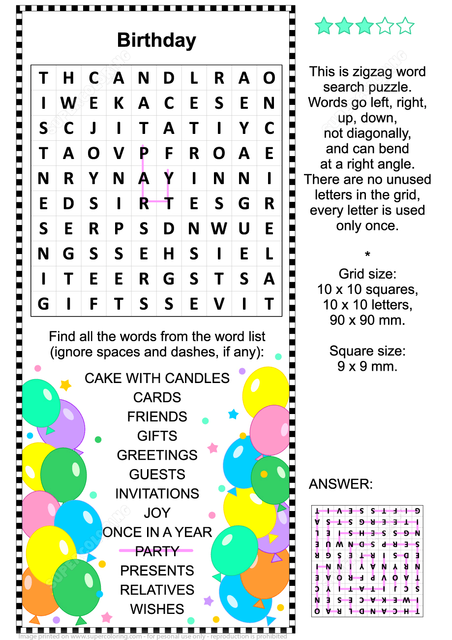 Birthday Zigzag Word Search Puzzle | Free Printable Puzzle Games