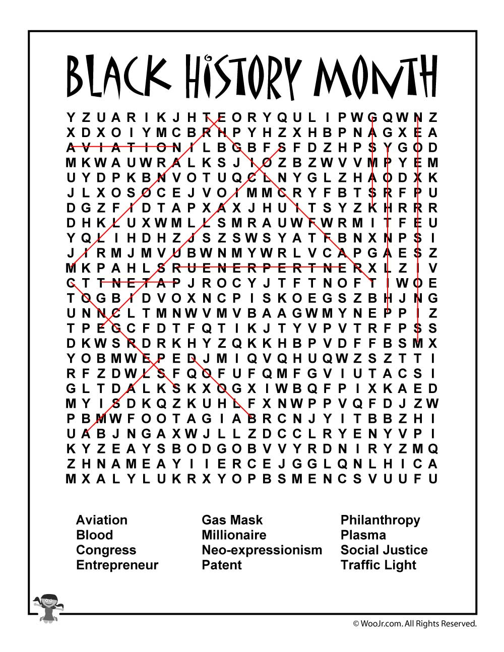 Black History Month Word Search Answer Key | Woo! Jr. Kids