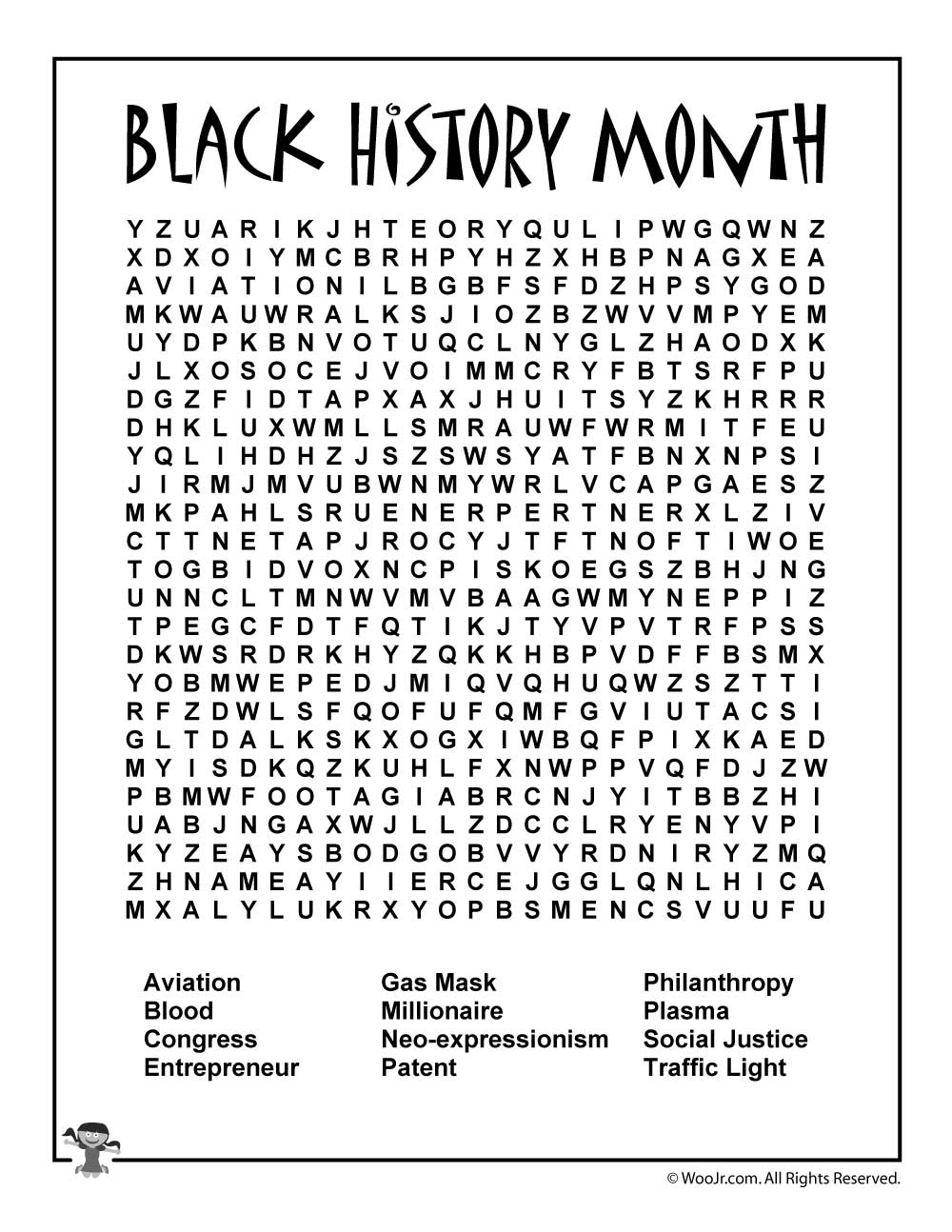 Black History Month Word Search | Woo! Jr. Kids Activities