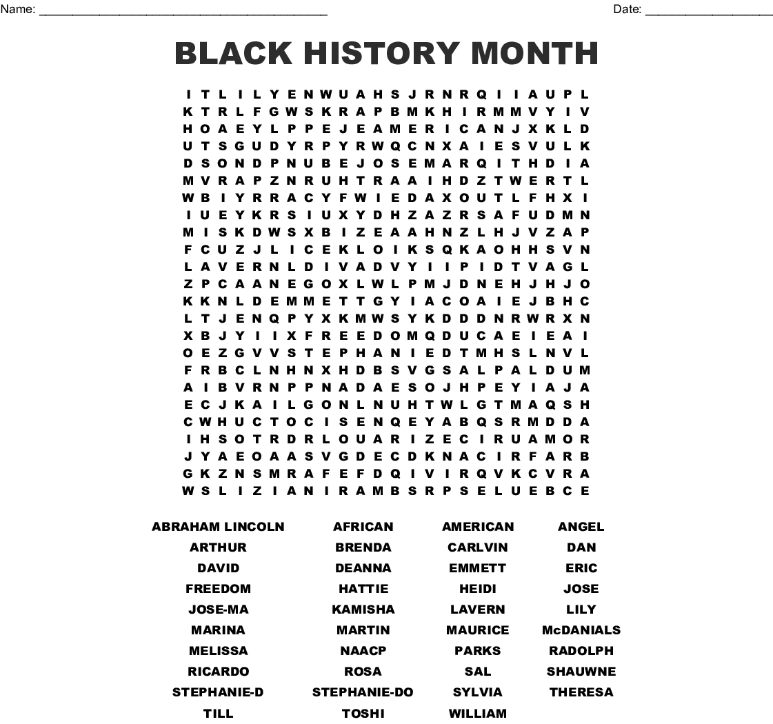 Black History Month Word Search - Wordmint