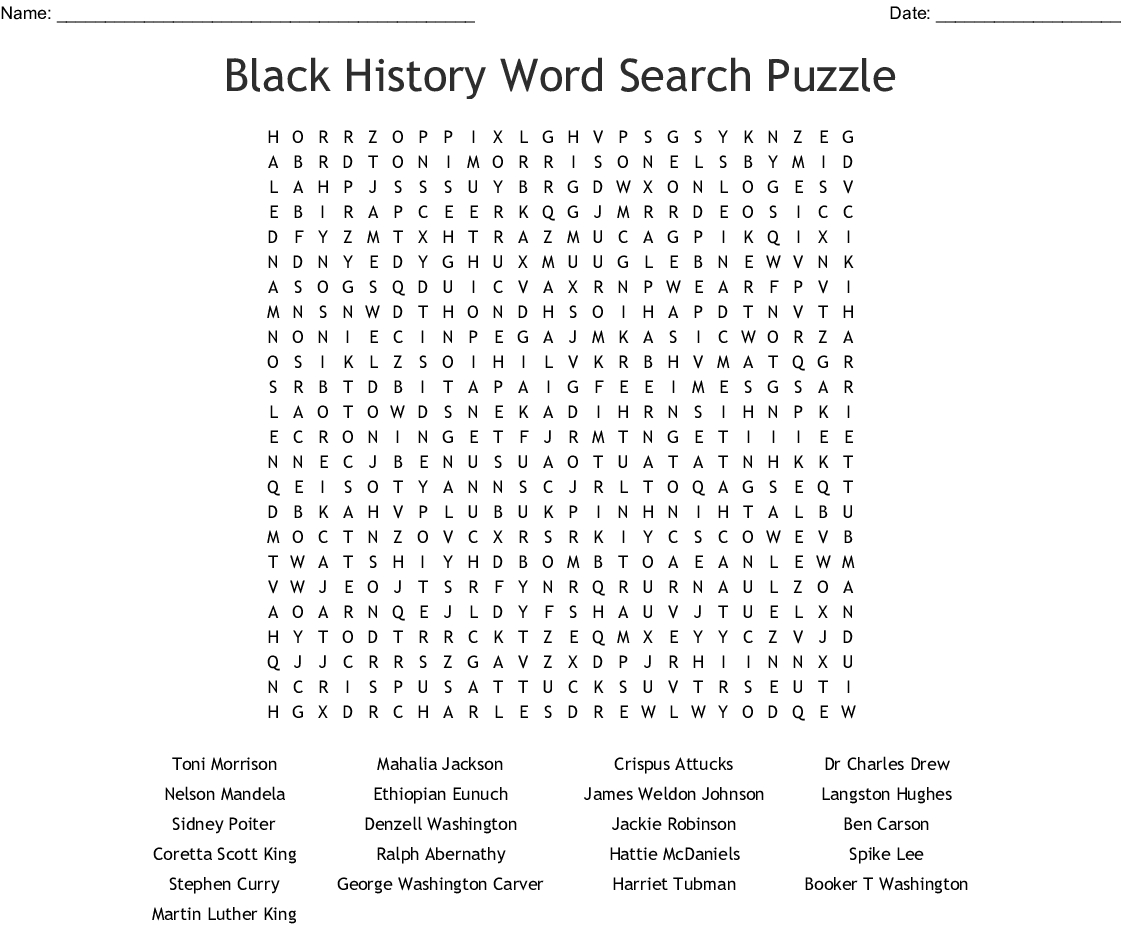 Black History Word Search Puzzle - Wordmint