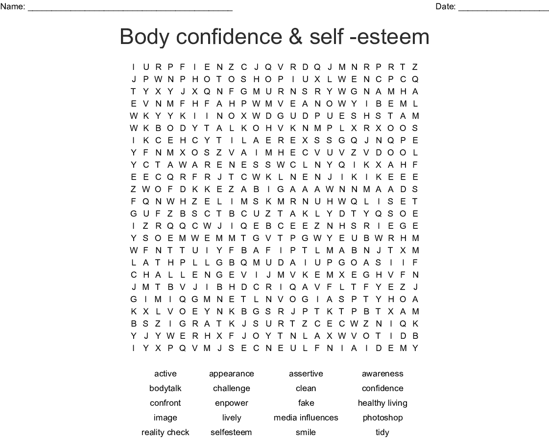 Body Confidence & Self -Esteem Word Search - Wordmint